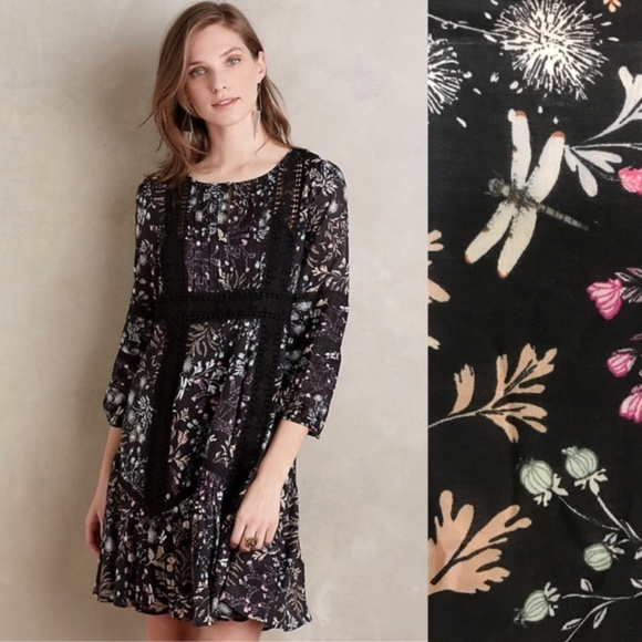 eeacdd7ed191 Anthropologie Dresses & Skirts - Anthropologie RARE Peasant Dress Black 0P  Floral